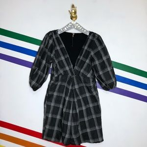 NEW Free People grid half sleeve dress